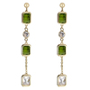 Snö of Sweden Twice Long Earring Gold/Olive 66 mm