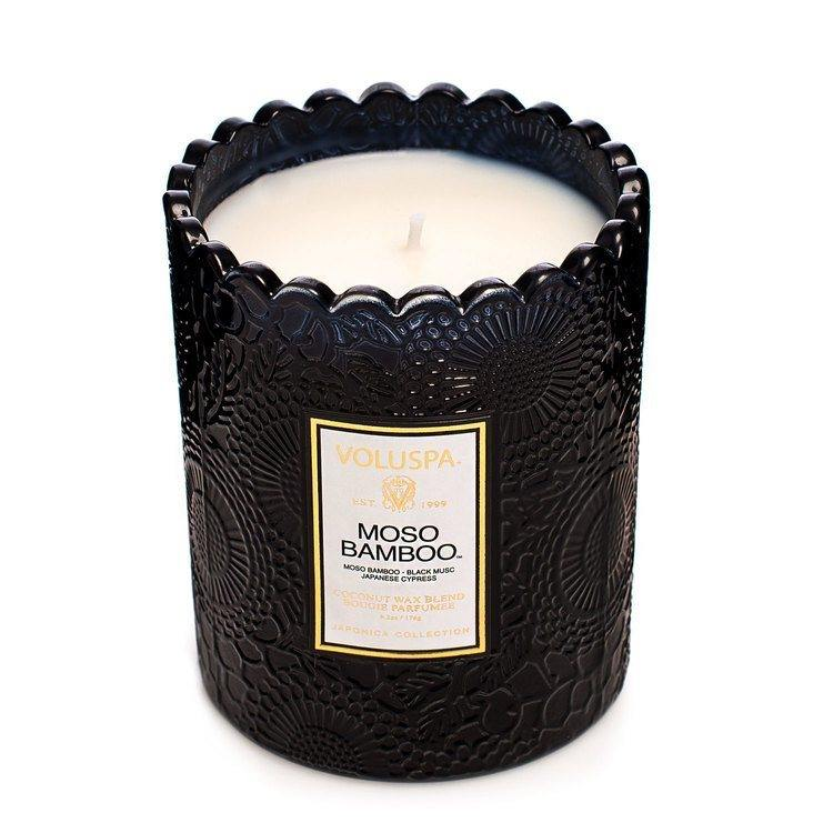 Voluspa Maso Bamboo Embossed Glass Scalloped Edge Candle 176 g