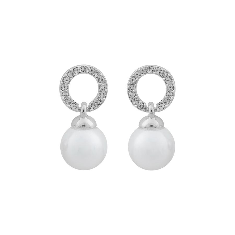 Snö of Sweden Daria Pearl Pendant Earring Silver/White