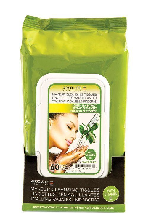Absolute New York Make-Up Cleansing Tissues Water Based Green Tea Extract 60 st