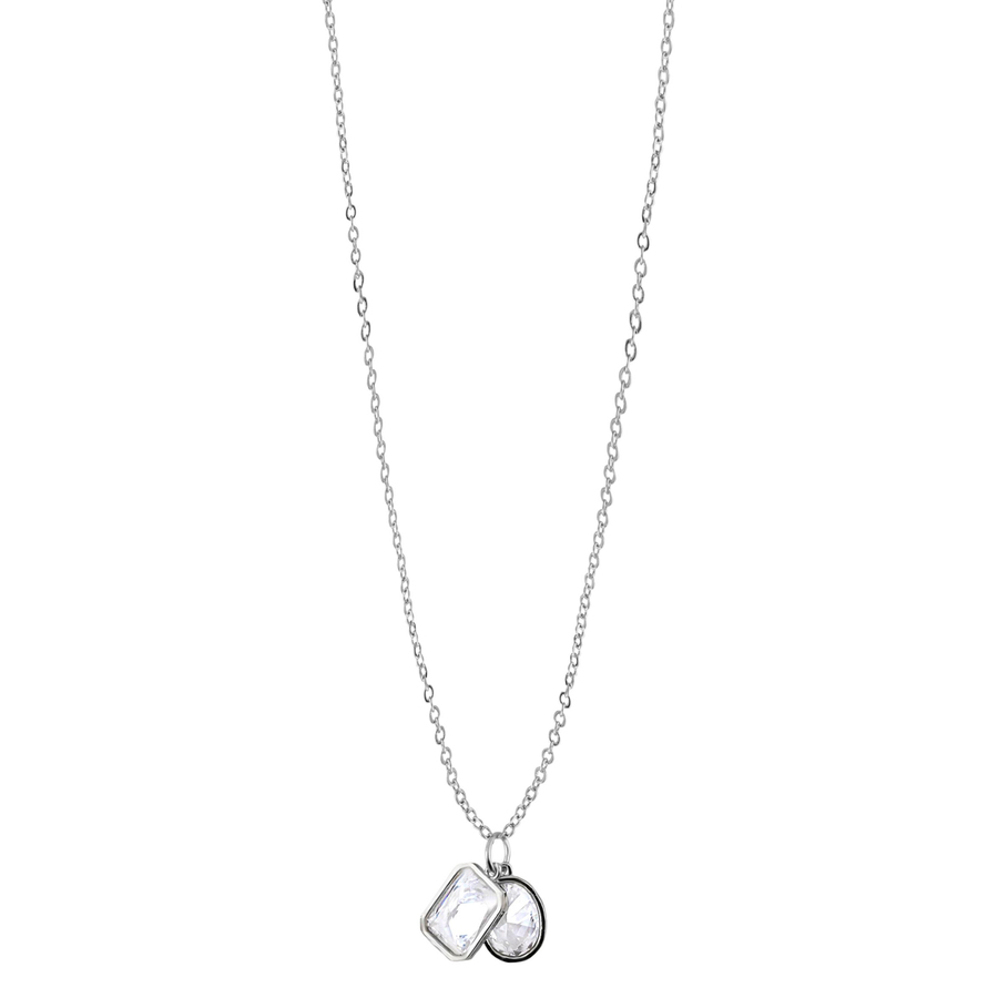 Snö of Sweden Twice Pendant Necklace Silver/Clear