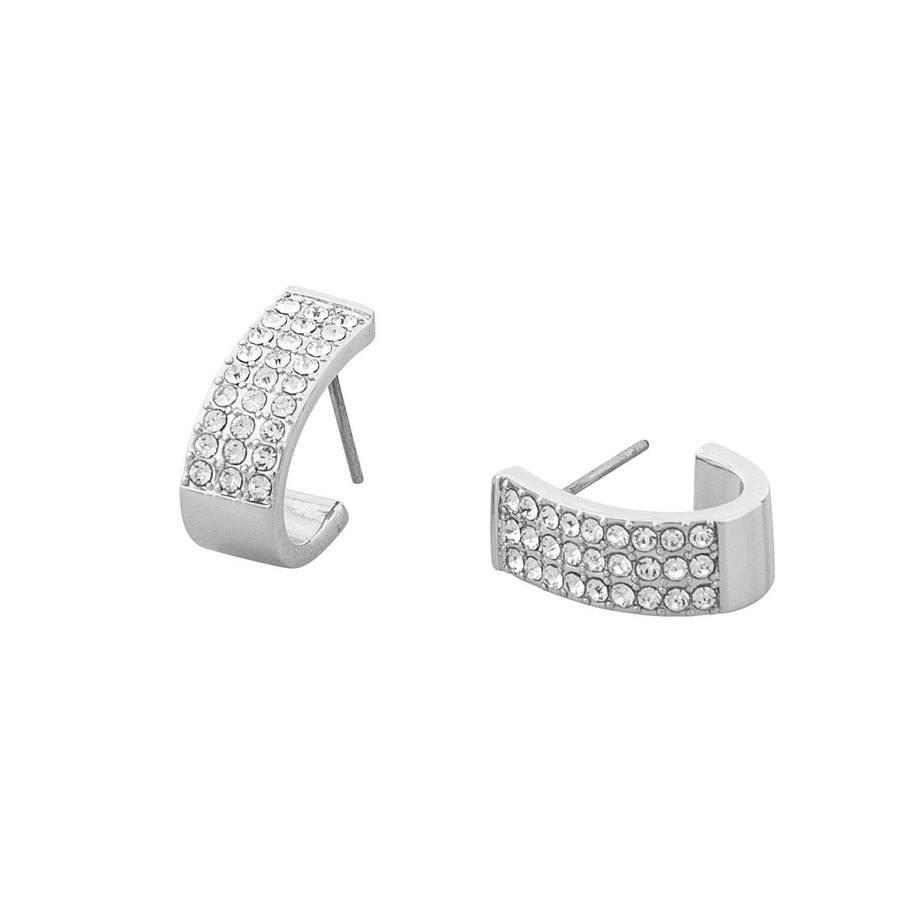 Snö of Sweden Corinne Small Wide Oval Earring Silver/Clear