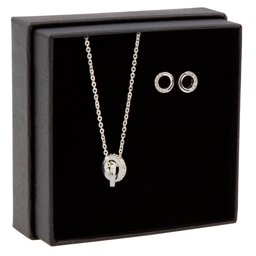 Snö of Sweden Gift Neck Set Connected Silver/Clear
