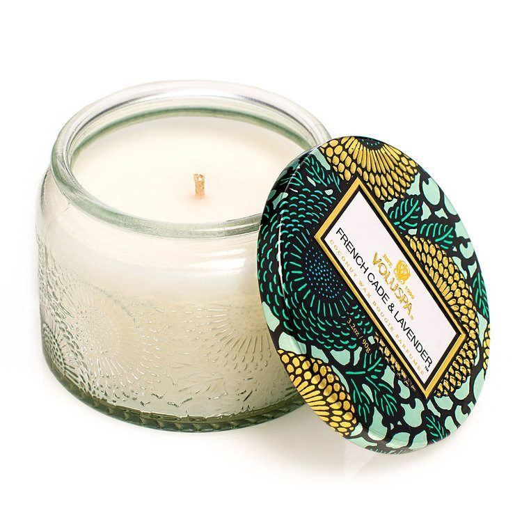 Voluspa French Cade & Lavender Petite Embossed Glass Jar Candle 85 g