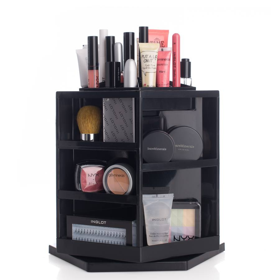 Shelas Versatile Rotating Cosmetic Organizer Black