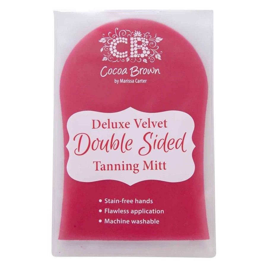 Cocoa Brown Deluxe Double-Sided Tanning Mitt Pink Velvet