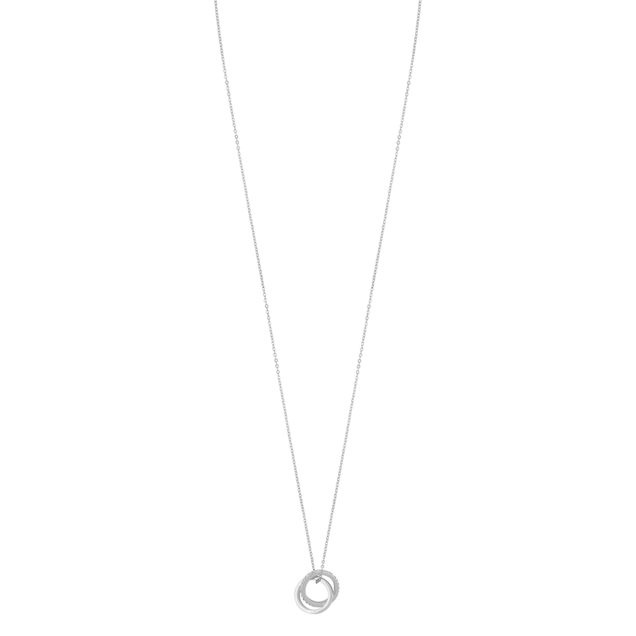 Snö of Sweden Connected Pendant Necklace Silver/Clear 80 cm